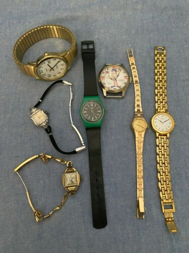 VINTAGE LOT 7 WATCHES TIMEX SEIKO CARAVELLE DELMARK SWATCH LOUIS  SPIRO AGNEW