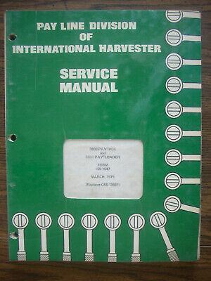 Ih Farmall International 3800 3850 Backhoe Loader Tractor Service Manual