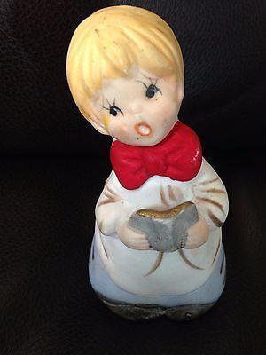 Choir Boy Christmas Bell Jasco 1978 Porcelain Christmas Bell Church W/Sticker