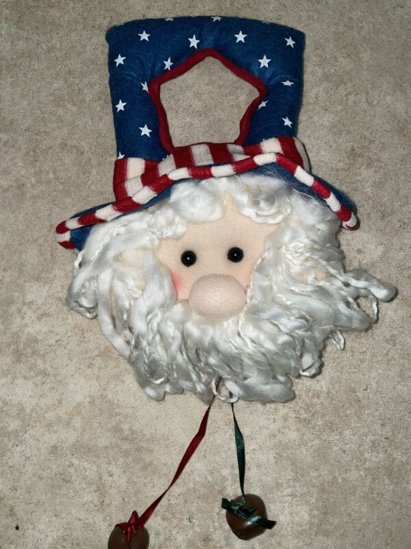 AMERICANA Welcome Patriot UNCLE SAM Plush 4th of July Wall Door Hanger w/ bells