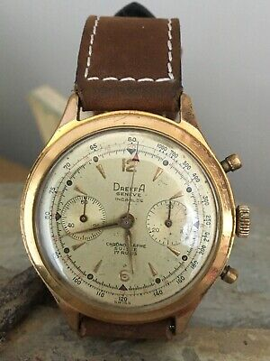 Lovely Rare Vintage Large Dreffa Geneve Chronograph Manual Wind Men's Watch