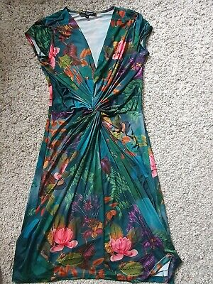 Beautiful Ilse Jacobsen Green Floral Stretch Dress in Size M