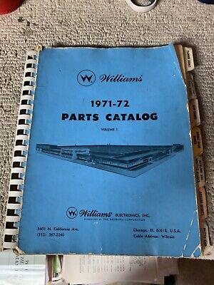 Williams Parts Catalog 1971-72  Pinball arcade game manual
