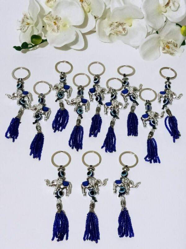 12 Feng Shui Chinese Oriental Good Luck Keychain Favors Elephant Amulet Tassel