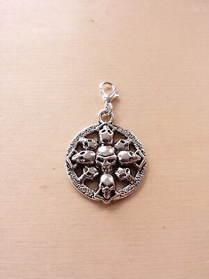 Totenkopf Amulett * Schädel Gothic Halloween * Schmuckanhänger Charms Silber