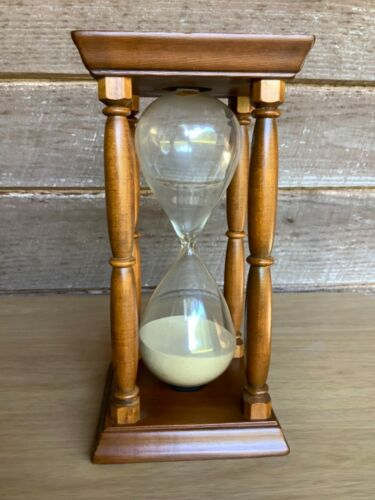 MCM Hourglass Sand Timer One Hour Vintage 50s West Germany Glass Wood Big 9 in