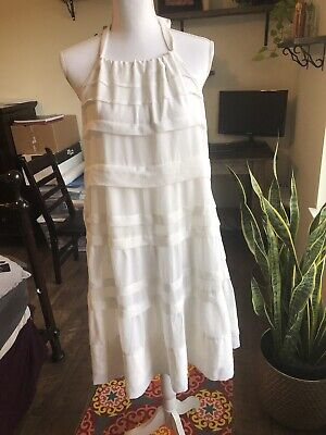 H&m Concious Collection White Backless Shift Ruffle Dress Size 10