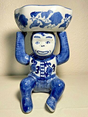 Chinoiserie Ceramic Blue & White Monkey Figurine Candy Soap Trinket Dish Bowl