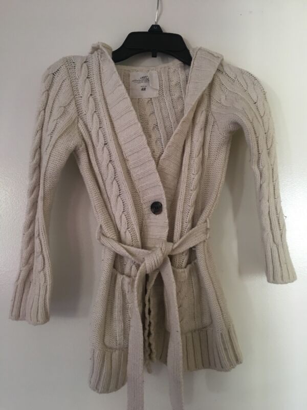 H&M Girl Long Sleeve Cable Knit Hooded Cardigan Belted Size 4-6 Years Oversized