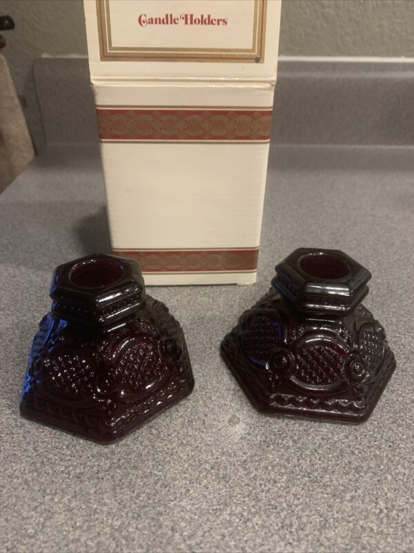Vintage Avon Red Cranberry Cape Cod Collection Glass Candle Holders, 1-Pair
