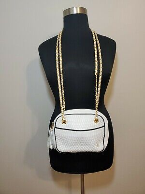 Authentic BALLY Quilted Leather White & Navy Blue Trim Handbag Purse Vintage