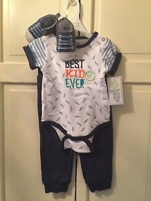 "NEW Baby Gear 3-Pc Outfit Set 6-9 Months Bodysuit Pants & Shoes ""Best Kid"