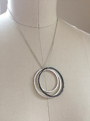 multi metal open circle necklace casual layering piece hammered silver NEW