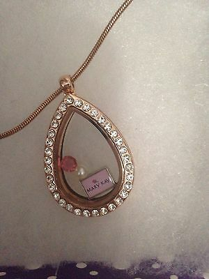 - Mary Kay Make up lover Rose Gold Teardrop Charm Locket - Fit Origami Owl Charm