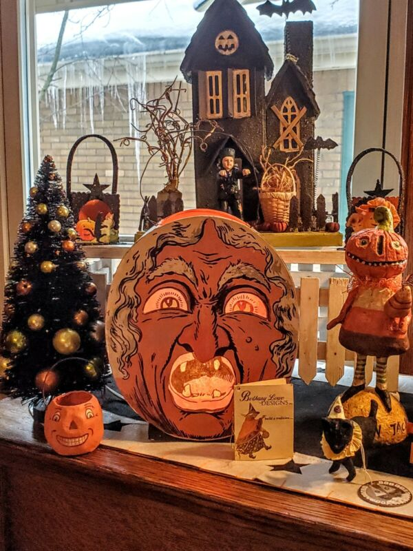 BETHANY LOWE☆HALLOWEEN LANTERN☆ COLLECTIBLES☆RETIRED☆DECOR☆BRUCE ELSASS☆VINTAGE
