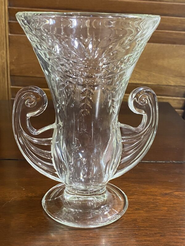 "Vintage Glass Vase w/Handles 7.25"" T x 4.75"" W ( Has a floral Pattern) See Pics"