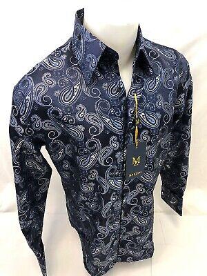 Mens MANZINI Button Up Dress Shirt NAVY BLUE PAISLEY Designer FRENCH CUFF 302 Paisley Designer