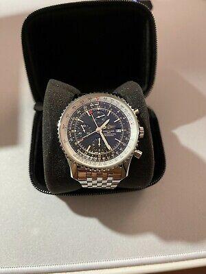 Breitling Navitimer World Men's Black Watch Stainless Steel Bracelet - A24322