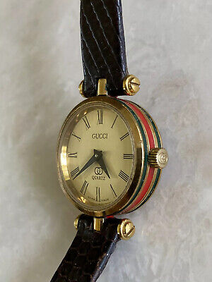 RARE VINTAGE GUCCI AUTHENTIC RED GREEN GOLD PLATED QUARTZ LADIES WATCH