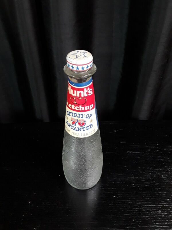Vintage Hunts Ketchup Bicentennial 1976 George Washington embossed bottle w cap