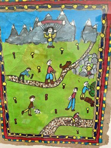 Folk Art Painting Children Playing Hiking Hang Gliding Framed Naive Original Art