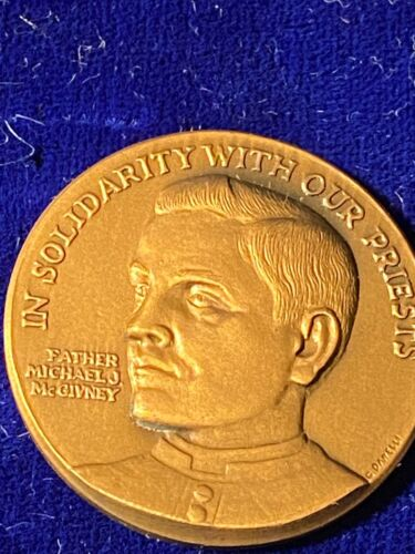 """Knights of Columbus 1.5"""" Bronze Medal - Father McGivney / In Solidarity"""