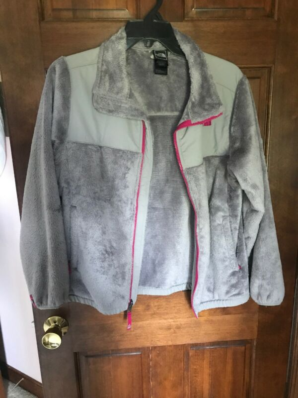 Youth Girls Kids XL(18) Grey With Pink North Face