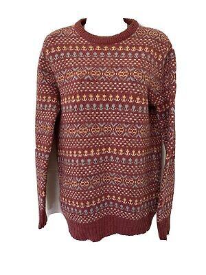 Pitlochry Vintage Scottish Fairisle Pure New Wool Jumper Pink M 12/14