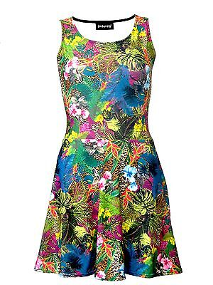 Tropical Floral Flowers Leaves Leopard Skin Animal Print Rockabilly Flare Dress ()