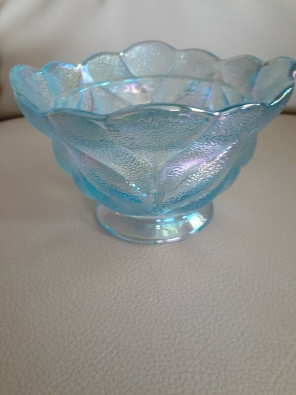 Vintage Blue Carnival Iridescent Glass Open Sugar Bowl,Stippled Textured