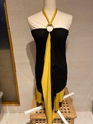 Honey Punch Size Large Black/Mustard Halterneck Dress Preloved