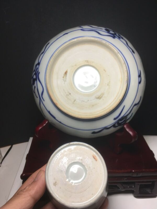Antique Japanese Blue Soba Choko Cup And A Plate No Stand