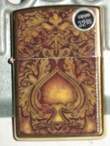 New Genuine ZIPPO USA Windproof Lighter 67283 Golden Spade Brushed Brass Case