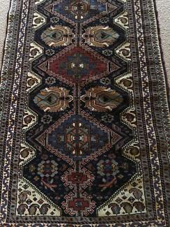 Long Nowbav Persian runner dark blue background, geometric design