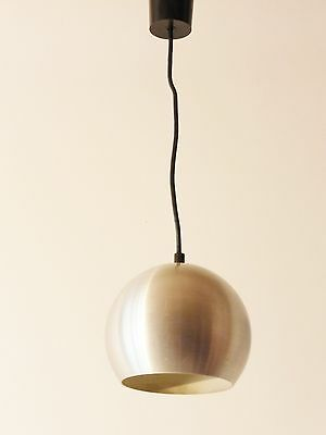 LAMP SUSPENSION BALL STEEL BRUSH 1970 VINTAGE POP SPACE AGE 70S HANGING LIGHT