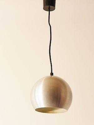 LAMP SUSPENSION BALL STEEL BRUSH 1970 VINTAGE POP SPACE AGE 70S HANGING LIGHT