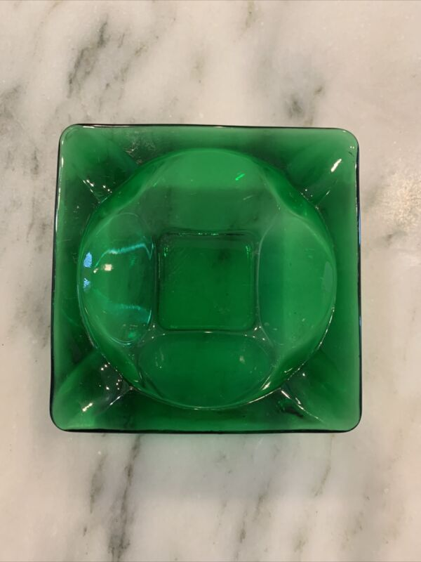 """Vintage Ashtray Forest Green Square Glass 3.5"""" Anchor Hocking"""
