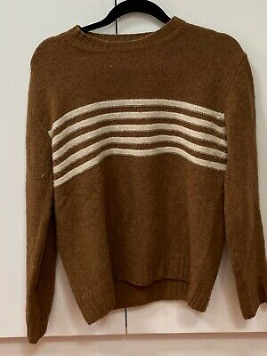 Altea Milano Brown and Cream Wool Mohair Knit Sweater - Made in Italy - Size M