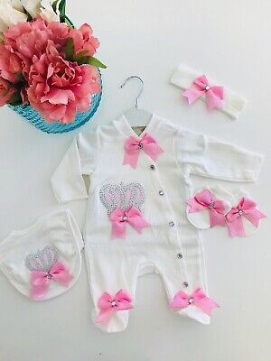 Baby Girl Showers (5 PIECE BABY GIRL SET BABY SHOWER GIFT CLOTHES ROMPER ROMANY OUTFIT  PINK)