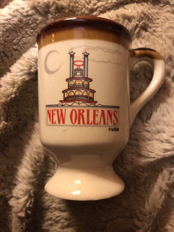 Vintage New Orleans Mug Cup Souvenir Steamboat Tan Brown Glaze Rim