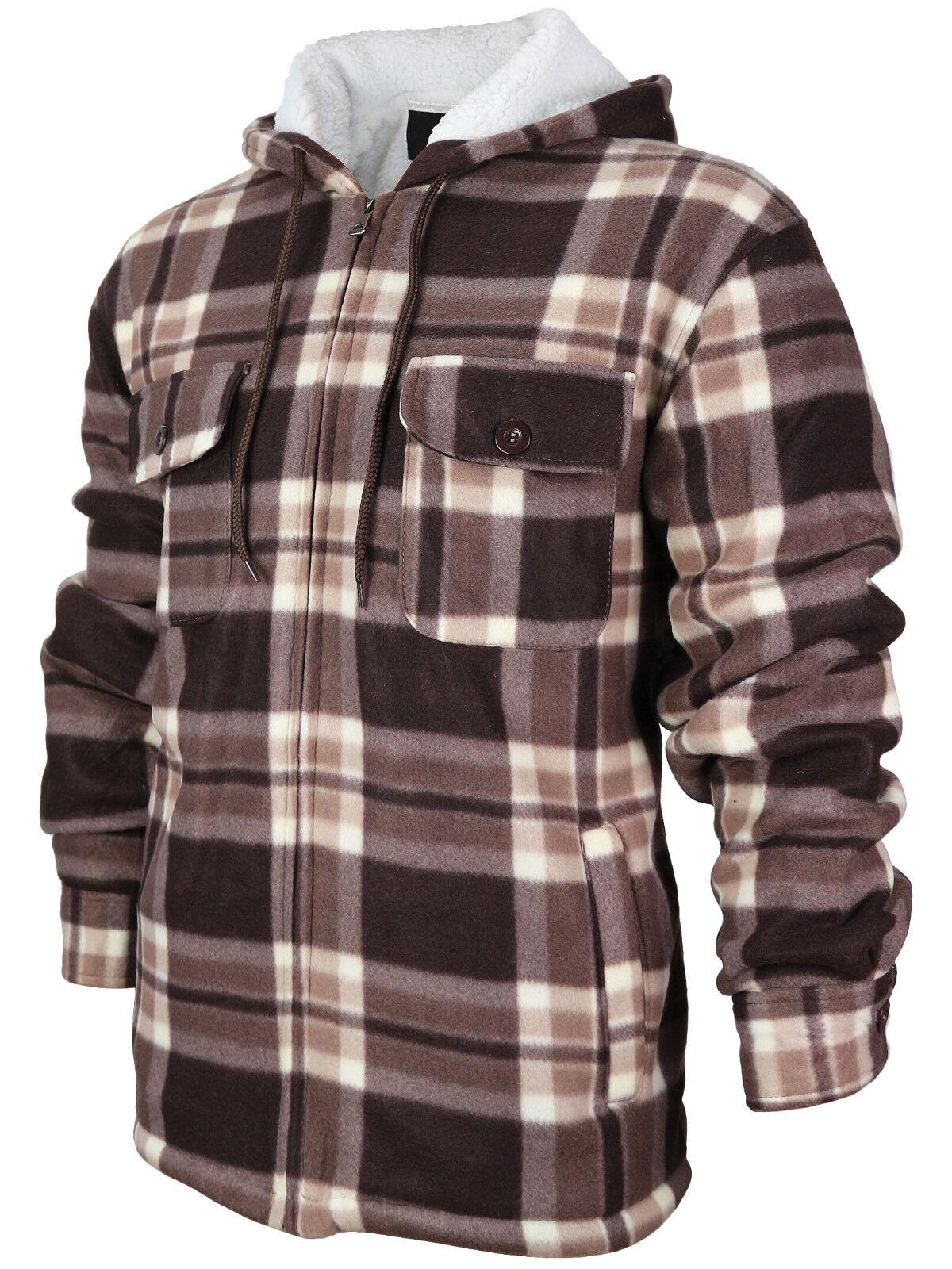 Men's Heavy Fleece Lined Sherpa Hoodie Plaid Flannel Jacket With Hood MFJ130 - Brown
