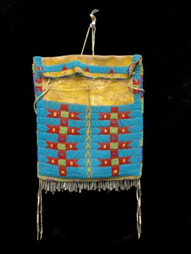 Rare Southern Cheyenne Beaded Hide Dispatch Case