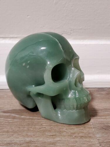 Green Aventurine Huge Carved Crystal Skull Realistic Healing