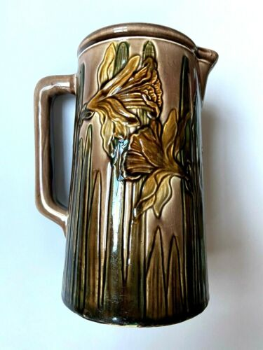 Vance Avon Faience Pottery Daffodil Pitcher Exquisite Circa 1900