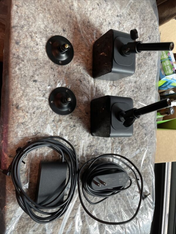 two Original HTC Vive Base Station Lighthouse SteamVR W Power and mounts