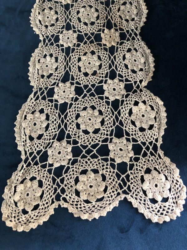 "Vintage Crochet Table Doily Cotton Dresser Scarf. Handmade Needlework 34.5"" L"