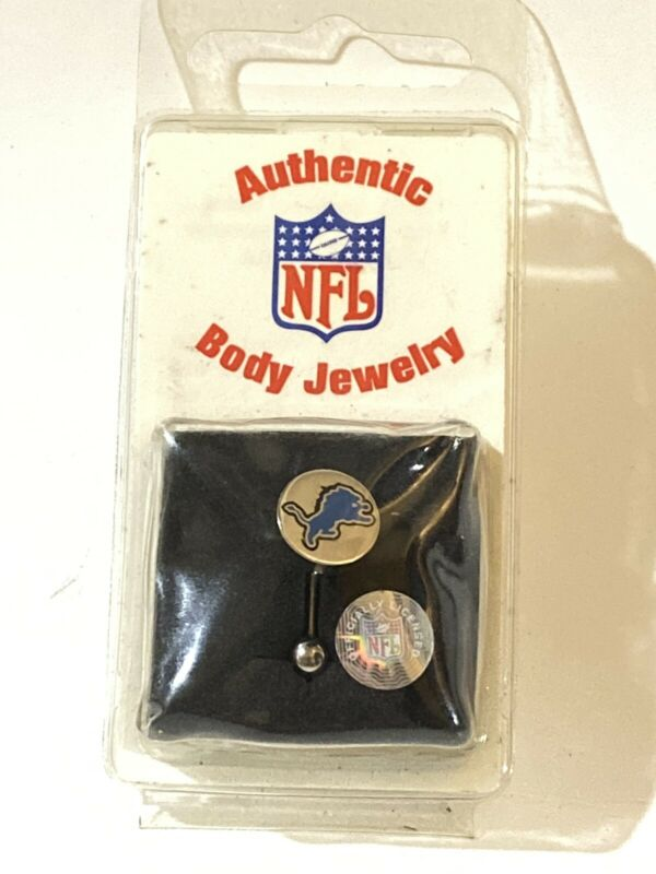"Authentic NFL Body Jewelery Belly Ring Lions 316 Surgical Steel 7/16"" 4 Gauge"