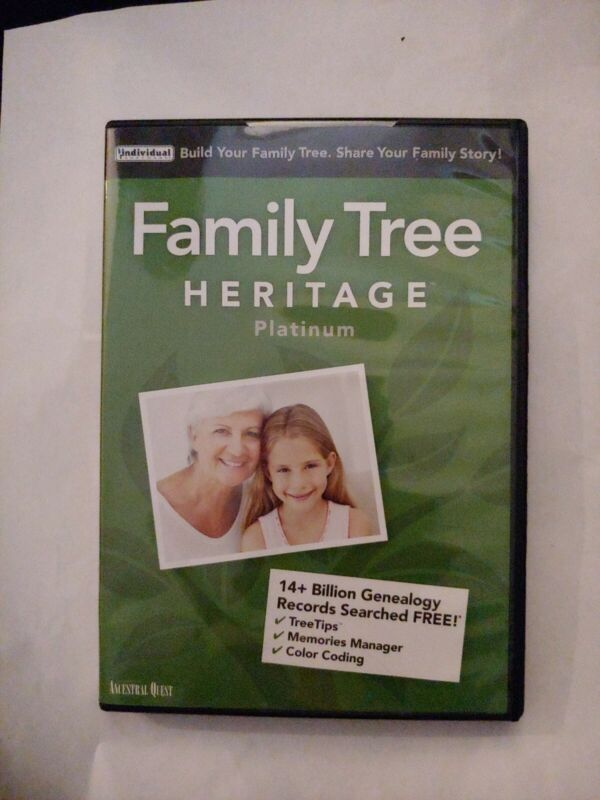 FAMILY TREE HERITAGE PLATINUM 15 PC Software--Win 10,8,7-DIGITAL CODE ONLY
