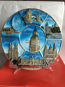 London 3D Souvenir Plate With Display Stand & Wall Hook British Souvenir Gift