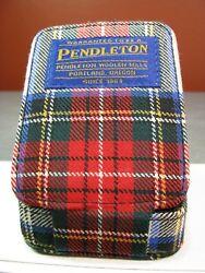 Pendleton Red Plaid Travel Alarm Clock Quartz Folding Battery-Powered Wool